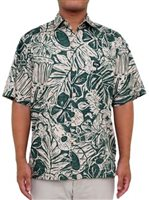 Rix Island Wear Kanikapila Green Cotton Men's Hawaiian Shirt Classic Fit