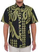 Rix Island Wear Halau Black Olive Cotton Men's Hawaiian Shirt Slim Fit