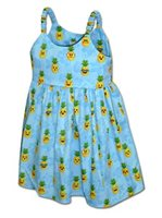 Pacific Legend Pineapple Blue Cotton Toddlers Hawaiian Bungee Dress