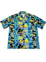 KY'S Classic Disovery Navy Blue Men's Hawaiian Shirt