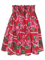 Sweet Hibiscus Lei Red Poly Cotton Single Pau Skirt