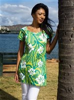 Coral of the Sea Hibiscus Tattoo Green Polyester Spandex T-shirt Dress