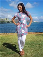 689e7788d9196 Coral of the Sea Hibiscus Tattoo Pink Polyester Spandex T-shirt Dress