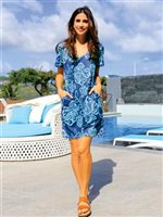 Coral of the Sea Maile Navy Polyester Spandex Vera Dress