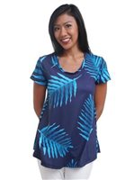 Coral of the Sea Fern Navy Polyester Spandex Patty Top