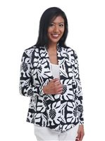 Coral of the Sea Leaf Quilt Black&White Polyester Spandex Missy Long Sleeve Fly Cardigan