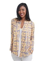 Coral of the Sea Leaf Quilt Yellow Polyester Spandex Missy Long Sleeve Fly Cardigan