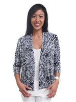 Coral of the Sea Banan Leaf Black&White 3/4 Sleeve Cardigan