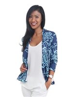 Coral of the Sea Maile Navy Light Blue 3/4 Sleeve Cardigan