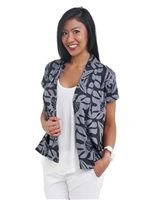 Coral of the Sea Monstera Quilt Black Polyester Spandex Pula Short Sleeve Cardigan