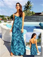 Coral of the Sea Fern Blue Rayon Hilo Maxi Dress