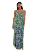 Coral of the Sea Tribal Green Rayon Hilo Maxi Dress