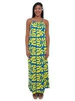 c50cb8f3f9300 Coral of the Sea Monstera Yello&Blue 100% Rayon Filament Kahala Maxi Dress