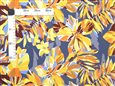 Tropical Flower Paint Gray&Yellow Poly Cotton SAM-01