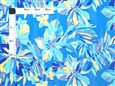 Tropical Flower Paint Blue Poly Cotton SAM-01