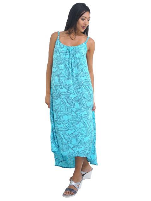 4f146e386706 Coral of the Sea Tropical Leaf Light Blue Kona Maxi Dress   AlohaOutlet