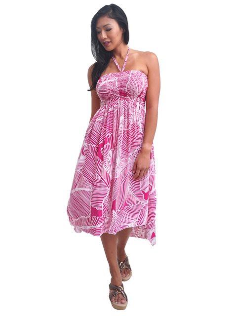 a1354e4f7be20 Tropical Fern White&Pink Rayon Hi-Low Resort Dress