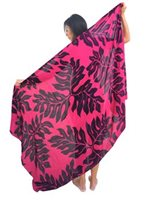 Coral of the Sea Tropical Leaf Pink Rayon Pareo Full Size