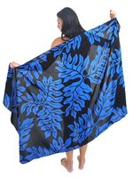 Coral of the Sea Tropical Leaf Blue Rayon Pareo Full Size