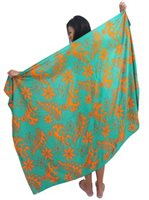 Coral of the Sea Tribal Plumeria Green&Orenge Rayon Pareo Full Size