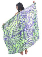 Coral of the Sea Tribal Green Rayon Pareo Full Size