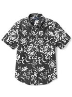 Reyn Spooner Pareau Royale Black Onyx Poly Cotton Men's Tailored Fit Hawaiian Shirt