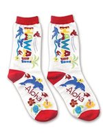 Hawaiian Adventure White Men's Hawaiian Socks