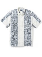 Reyn Spooner Summer Stripe White Alyssum Cotton Men's Classic Fit Hawaiian Shirt