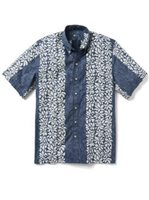 Reyn Spooner Summer Stripe Peacoat Cotton Men's Classic Fit Hawaiian Shirt