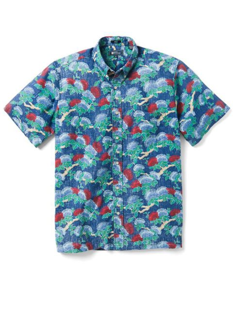 Legend Lehua Blue Poly Cotton Men's Classic Fit Hawaiian Shirt