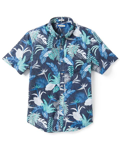 4026cec8 Reyn Spooner Bangkok Floral Peacoat Cotton Men's Tailored Fit Hawaiian Shirt