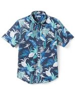 Reyn Spooner Bangkok Floral Peacoat Cotton Men's Tailored Fit Hawaiian Shirt