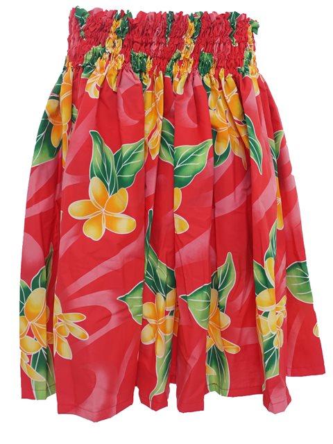 652c6034 Plumeria Red Poly Cotton Single Pau Skirt | AlohaOutlet