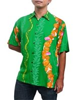 Hilo Hattie Ohia Green Rayon Men's Hawaiian Shirt