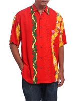 Hilo Hattie Ohia Red Rayon Men's Hawaiian Shirt