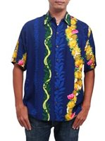 Hilo Hattie Ohia Blue Rayon Men's Hawaiian Shirt