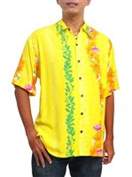 Hilo Hattie Ohia Yellow Rayon Men's Hawaiian Shirt