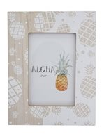 Pineapple White Hawaiian Wood Photo Frame