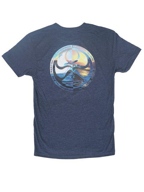 5756e6646 HIC Sunset Beach Navy Heather Cotton Men's Hawaiian T-Shirt ...