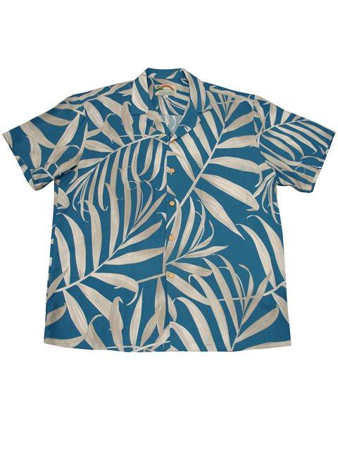 f7ed4595 Paradise Found Palm Fronds Blue Rayon Men's Hawaiian Shirt | AlohaOutlet