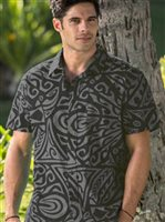 Hinano Tahiti Siua Black Cotton Men's Hawaiian Shirt