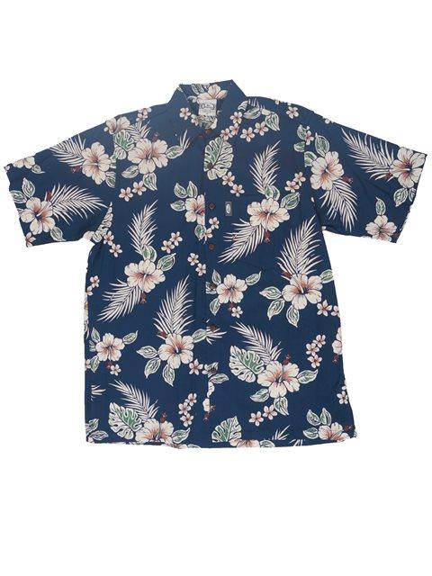 69e89b55 Go Barefoot Antique Hibiscus Navy Cotton Men's Hawaiian Shirt ...