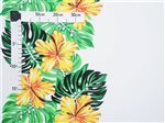 Hibiscus Monstera Yellow & White Poly Cotton CHOE-342