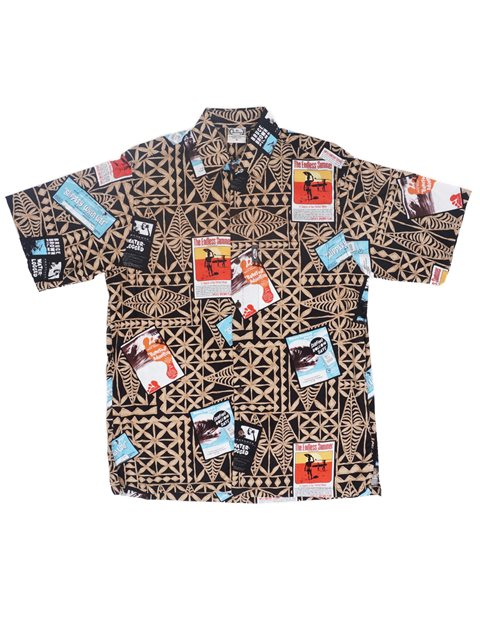 60277fb5 Go Barefoot Surf Flicks Black Cotton Rayon Men's Hawaiian Shirt ...