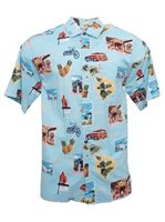 Go Barefoot Hawaii Must See Powder Cotton Rayon Men's Hawaiian Shirt
