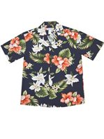 KY'S Majestic Hibiscus Navy Blue Rayon Men's Hawaiian Shirt