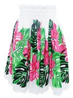 Hibiscus Monstera Pink & White Poly Cotton Single Pau Skirt