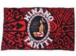 Hinano Tahiti Nora Red Screen Printed Pareo