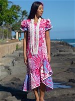 Anuenue Hibiscus & Plumeria Fuchsia & Cream Poly Cotton Hawaiian Long Muumuu Dress