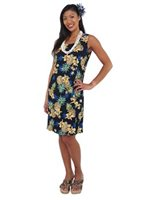 Two Palms Golden Pineapple Navy Rayon Hawaiian Tank Short Dress